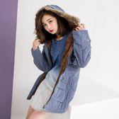 冬季新款 毛領連帽內加絨雙口袋收腰中長款保暖外套 (藍 紅 綠)三色售