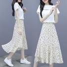 2021夏季新款時尚雪紡連衣裙套裝女顯瘦流行氣質碎花半身裙兩件套小艾新品