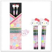 ♥小花花日本精品♥ Hello Kitty 粉色 臉頭造型 立體 和服 環保 造型筷子 紅粉兩款 11099406