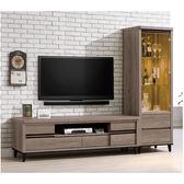 【森可家居】古橡木8尺客廳L櫃 8SB200-3 電視展示櫃 復古 木紋質感  MIT台灣製造