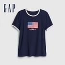 Gap 女裝 時尚旗幟印花圓領短袖T恤 582268-新海軍