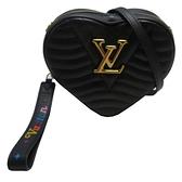 LOUIS VUITTON LV 路易威登 黑色牛皮愛心鍊條斜背包 New Wave Heart Bag【BRAND OFF】