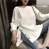 2020年新款女裝春季上衣外穿寬鬆網紅白色長袖t恤女打底衫ins超火