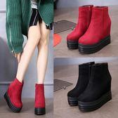 2019韓版秋冬季厚底坡跟內增高短靴女鞋13CM鬆糕底馬丁靴子裸靴