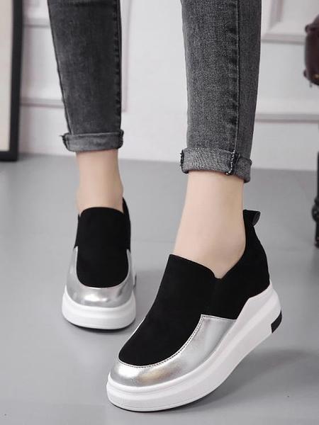 增高鞋 樂福鞋女鞋子2019春季新款厚底內增高單鞋運動休閒懶人鞋女一腳蹬 MKS霓裳細軟