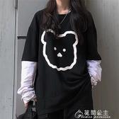 長袖T恤女-ins韓版女裝2019新款初秋百搭網紅寬鬆假兩件長袖T恤上衣 花間公主