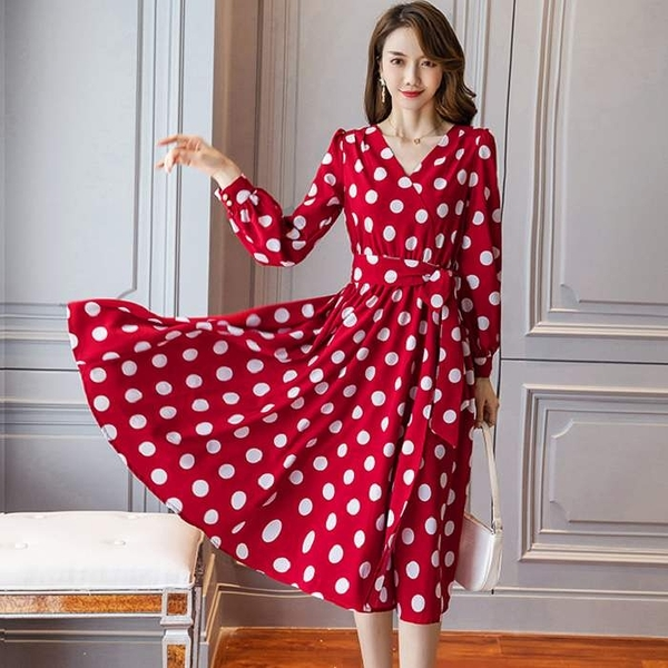 紅色洋裝紅白圓點交叉V領側開叉法式浪漫洋裝[98901-QF]美之札