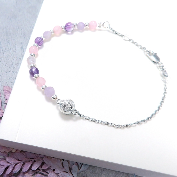 紫玉髓 925純銀天然石手鍊 串珠手鍊(質感半鍊)