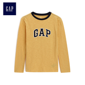 Gap男童 logo簡約長袖T恤 497331-明黃色