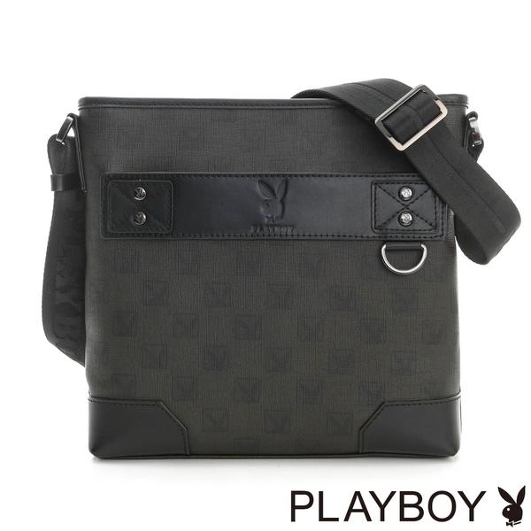 PLAYBOY- 下沉式斜背包 紳士棋盤兔系列-經典黑