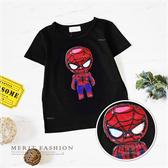 閃爍蜘蛛人眼睛發光短袖上衣 蜘蛛人 男童t恤 男童上衣 卡通 棉質 男童裝 男童短袖 哎北比童裝