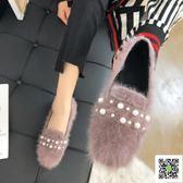 平底鞋 超火網紅秋季新款豆豆鞋女淺口平底單鞋套腳瓢鞋平跟休閒毛毛鞋子 阿薩布魯