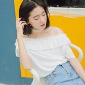 一字肩上衣設計感小眾輕熟少女露肩襯衫2019新款夏季復古寬鬆短袖