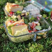 耐熱玻璃飯盒微波爐專用保鮮盒收納便當盒密封碗帶蓋      七色堇