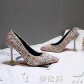 高跟鞋秋冬高跟鞋細跟尖頭單鞋淺口性感韓版百搭女神貓跟鞋8cm女鞋夢依港