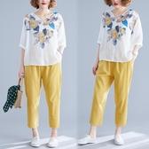 胖mm休閒套裝寬鬆夏季韓版顯瘦印花襯衫棉麻哈倫褲大碼女裝兩件套 快速出貨