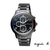 agnes b 太陽能數字三眼鬧鈴黑鋼帶錶 公司貨 V172-0AX0D BY6003P1   名人鐘錶高雄門市