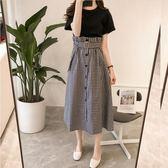 【免運】新品夏新款大碼女裝洋氣減齡套裝胖mm遮肚子連身裙遮肉兩件套潮
