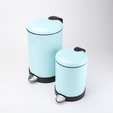 HOLA 緩降金屬垃圾桶組綠5L+12L