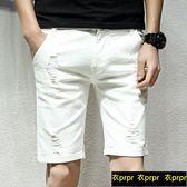 牛仔短褲-夏季短褲男士牛仔破洞彈力五分褲 衣普菈