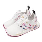 adidas 休閒鞋 NMD_R1 W 白 桃紅 花花 三葉草 BOOST 聯名款 女鞋【ACS】 FY3666