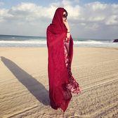 春夏季超大棉麻圍巾純色民族風海邊度假防曬披肩沙灘巾絲巾紗巾女