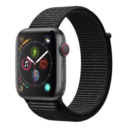 Apple Watch Series 4 (GPS + 行動網路),44 公釐太空灰色鋁金屬錶殼搭配黑色運動型錶環