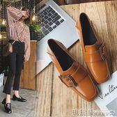 包鞋 樂福鞋女粗跟英倫風百搭復古方頭小皮鞋中跟方扣單鞋 瑪麗蘇