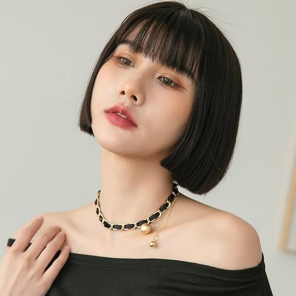 限量現貨◆PUFII-項鏈 黑緞帶質感金色珍珠項鏈- 0601 現+預 夏【CP20348】