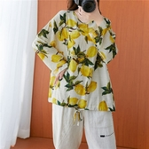 棉綢文青風印花下綁帶上衣-大尺碼 獨具衣格 J3110