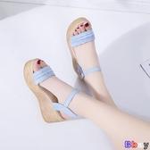 Bbay 楔型涼鞋 坡跟涼鞋 高跟 一字帶 厚底