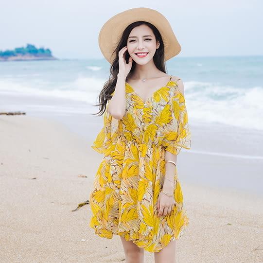 梨卡★現貨 - 夏季沙灘度假雪紡波西米亞印花花朵縮腰顯瘦洋裝連身裙沙灘短裙沙灘裙C6220
