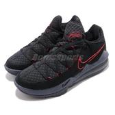Nike 籃球鞋 Lebron XVII Low EP 17 Bred 黑 紅 男鞋 詹皇 低筒 氣墊 運動鞋【PUMP306】 CD5006-001