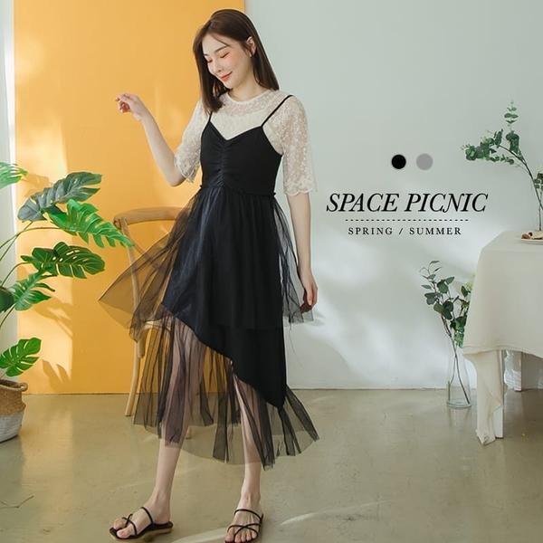 洋裝 Space Picnic|拼接網紗V領細肩洋裝(現貨)【C20062033】