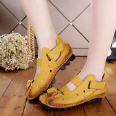 雙12鉅惠 民族風真皮涼鞋女復古軟底純手工包頭文藝洞洞鏤空媽媽鞋