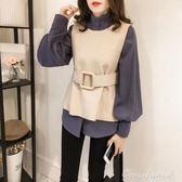 毛衣馬甲寬鬆燈籠袖襯衫女無袖毛呢背心馬甲兩件套chic 艾莎嚴選