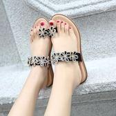 波西米亞羅馬夾腳涼鞋 花朵水鑽大碼平底鞋子《小師妹》sm1988