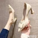 粗跟鞋 白色粗跟高跟鞋女2021年春季新款Ins仙網紅尖頭職業鞋小方根單鞋【618 購物】衣櫃