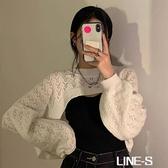 鏤空套頭毛衣秋季洋氣韓版內搭長袖白色寬鬆針織衫上衣女短款罩衫