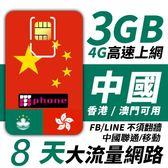 【TPHONE上網專家】中國聯通/移動 香港/澳門可用 8日無限上網 前面3GB支援4G高速
