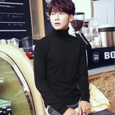 高領毛衣男冬季韓版潮流翻領修身純色學生打底衫秋上衣男士針織衫