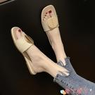 沙灘鞋 2021新款夏季拖鞋百搭網紅一字拖女時尚沙灘鞋穆勒半拖鞋外穿涼拖 愛丫 新品