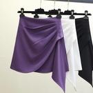 短裙女 半身裙女夏2020新款韓版不規則紫色高腰a字短裙百搭顯瘦包臀裙子