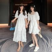 夏季韓版2020新款小個子收腰顯瘦白色方領褶皺短袖連身裙仙女裙子 雙11提前購
