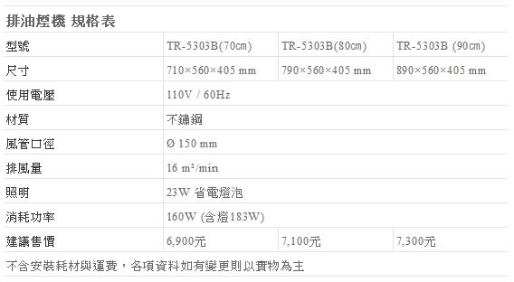 【fami】莊頭北 排除油煙機 斜背式 TR-5303B(70㎝)  斜背式排油煙機