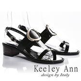 ★2018春夏★Keeley Ann獨立性格~大金屬環全真皮中跟涼鞋(黑色)-Ann系列