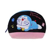 【日本進口正版】哆啦A夢 DORAEMON 黑色款 半月型 化妝包 收納包 筆袋 鉛筆盒 小叮噹 - 150625