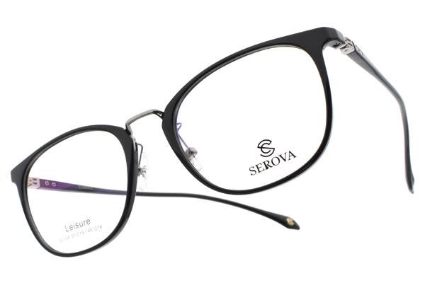SEROVA 光學眼鏡 SL104 C16 (黑-銀) 經典時尚愛心款 # 金橘眼鏡