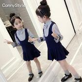 雙12八折大促連身裙女童連衣裙秋裝新款童裝中大童長袖條紋裙韓版兒童假兩件裙子