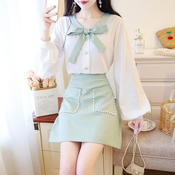 VK旗艦店 韓系抹茶綠蝴蝶結雪紡衫短裙套裝長袖裙裝